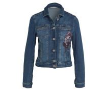 Jeansjacke mit Stickerei - blau