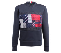 Sweatshirt - dunkelblau/ rot/ grau