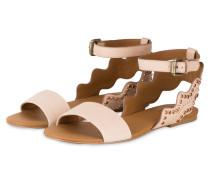 Sandalen mit Nietenbesatz - rosa
