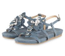 Sandalen mit Schmucksteinbesatz - blau