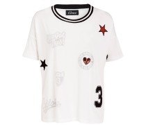 T-Shirt mit Patches - offwhite