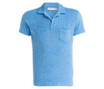 Frottee-Poloshirt - hellblau