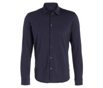 Jersey-Hemd Slim-Fit - blau