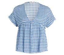 T-Shirt CRIPITOWN - ecru/ blau kariert