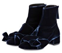 Samt-Stiefeletten - dunkelblau
