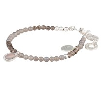 Armband BE HAPPY - silber/ taupe
