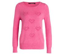 Pullover mit Herz-Applikationen - himbeere