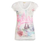 T-Shirt mit Pailettenbesatz - weiss