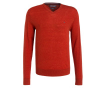 Lambswool-Pullover - orangerot