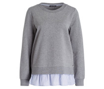 Sweatshirt mit Blusensaum - grau meliert
