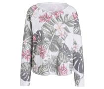 Sweatshirt - weiss/ grün/ rosa