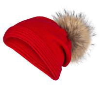 Cashmere-Mütze mit Pelzbommel - rot