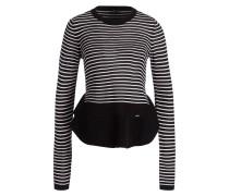 Pullover - schwarz/ offwhite gestreift