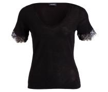 Strickshirt mit Spitzensaum - schwarz