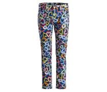 Skinny-Jeans - dunkelblau/ gelb/ rot