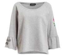 Pullover mit Volants - grau meliert