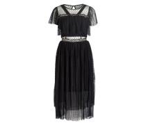 Tüllkleid mit Nietenbesatz - schwarz