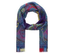 Schal mit Seidenanteil - blau/ gelb/ pink