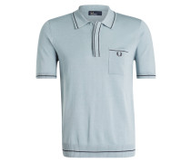 Strick-Poloshirt - hellblau