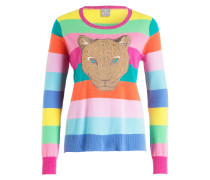 Cashmere-Pullover - gelb/ pink/ petrol
