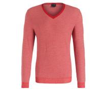 Pullover - rot/ ecru meliert