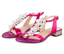 Zehentrenner mit Perlenbesatz - pink