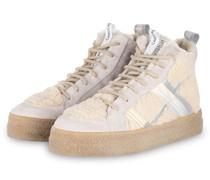 Hightop-Sneaker mit Lammfellbesatz - CREME
