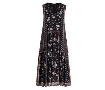Midi-Kleid RITUEL - schwarz/ orange/ blau