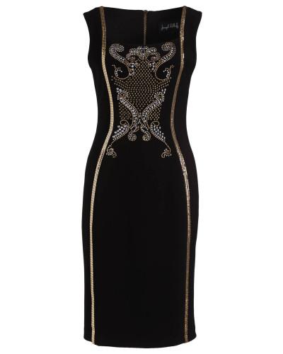 Kleid mit Schmucksteinbesatz - schwarz