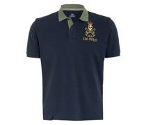 Piqué-Poloshirt mit Patches und Stickereien
