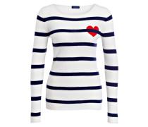 Cashmere-Pullover - creme/ blau gestreift