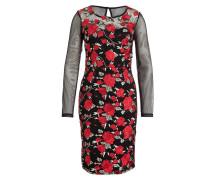 Kleid - schwarz/ rot/ hellgrün