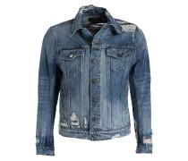 Destroyed-Jeansjacke - blau meliert