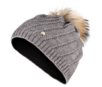 Mütze EMILIA mit Pelzbommel - grau