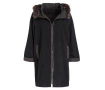 Cashmere-Mantel mit Fellbesatz