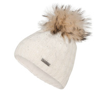 Mütze mit Pelzbommel - wollweiss