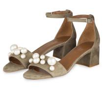 Sandalen mit Perlenbesatz - gelb