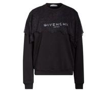 Sweatshirt mit Spitzenbesatz