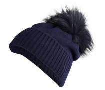 Cashmere-Mütze mit Fellbommel - marine