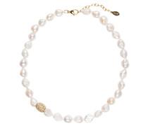Perlenkette - weiss/ gold