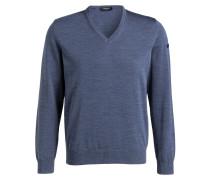 Schurwoll-Pullover - blaugrau meliert