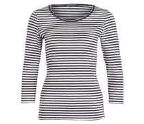 Shirt mit 3/4-Arm - navy/ weiss