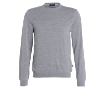 Schurwoll-Pullover - grau meliert