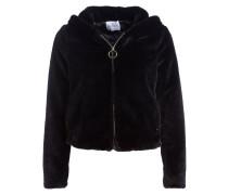Jacke in Felloptik - schwarz