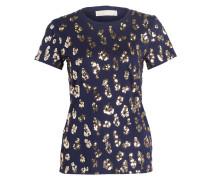T-Shirt mit Paillettenbesatz - navy/ gold