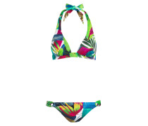 Neckholder-Bikini - blau/ fuchsia/ grün