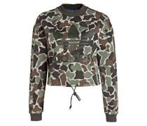 Cropped-Sweatshirt - braun/ grün/ schwarz