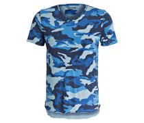 T-Shirt in Camouflage-Optik - blau