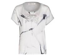 T-Shirt im Materialmix