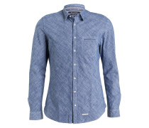 Hemd Shaped-Fit - blau meliert